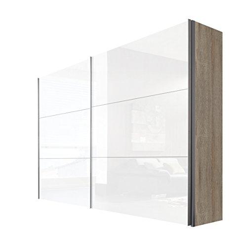 Express Möbel Schwebetürenschrank 2-türig 300 cm Weiß Lack, Korpus Eiche Sonoma Nachbildung, BxHxT 300x236x68 cm, Art Nr. 44690-768