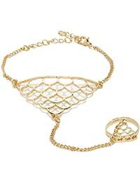 Cinderella Collection By Shining Diva Gold Metal Strand Bracelet Cum Ring for Girls/Women