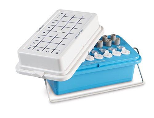 Heathrow Scientific HD120074 True North Mini Cooler mit Deckel für 0.5-2.0 mL, 32 mm Röhrchen, Polycarbonate, Maximum Temperatur 20 Grad Celsius, Blau