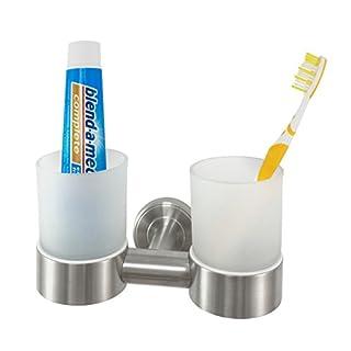 Badserie Ambiente - Zahnputzbecher, Zahnputzbecherhalter, Zahnbürstenhalter aus satiniertem Glas und robustem Edelstahl matt - zur Wandmontage