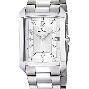 Festina F6824/1 - Reloj analógico de cuarzo unisex con correa de acero inoxidable, color plateado de Festina