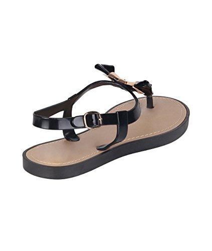 KRISP® Damen Flache Sandalen mit Schleife Schwarz (4853)