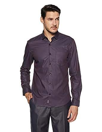 Indigo Nation Men's Solid Slim Fit Formal Shirt (50012317080001_Red_38)