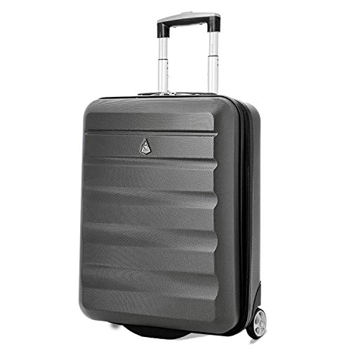 Aerolite Aerolite Lightweight Abs Hard Shell Trolley Travel Carry On Hand Cabin Luggage Suitcase Koffer, 56 cm, 33 liters, Grau (Charcoal)