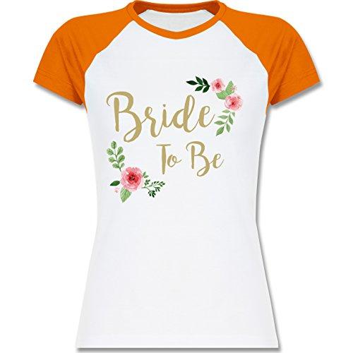 Shirtracer JGA Junggesellinnenabschied - Bride to Be - Zweifarbiges Baseballshirt/Raglan T-Shirt für Damen Weiß/Orange