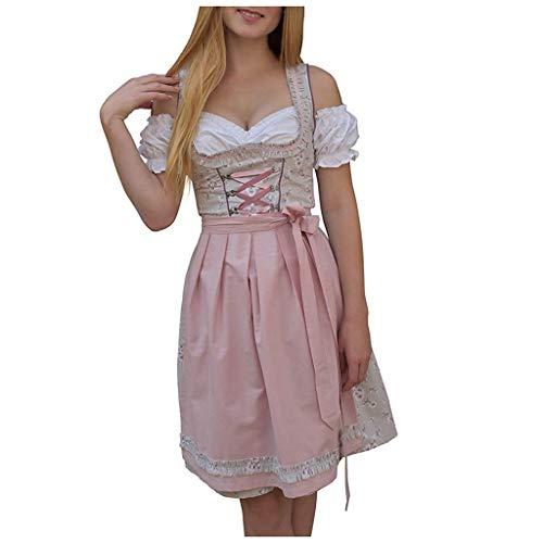 Fenverk Alice im Wunderland Anime Kellnerin Kostüm Lolita Kleider Dienstmädchen-Outfit für Restaurant/Festival/Party/Abschlussball/Halloween(Rosa,XL)