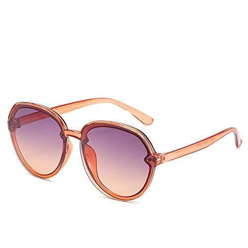 WDDYYBF Sonnenbrillen, Casual Übergroße Aviator Sonnenbrille Für Frauen Männer Aus Magnesiumlegierung Fashion Beach Reise Uv400 Brown Frame Farbverlauf Lila Objektiv