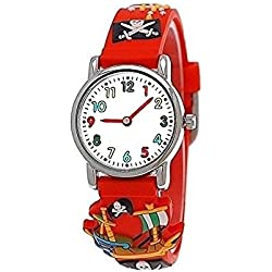 Pure time pirate wristwatch children watch children young girl boy silicone bracelet watch in Red incl. watch box