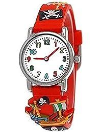 Pure Time® Kinder-Uhr Mädchen-Uhr für Kinder Jungen-Uhr Silikon-Kautschuk Armband-Uhr Uhr mit 3d Piraten Motiv Rot