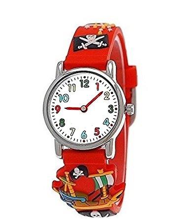 hr Mädchen-Uhr für Kinder Jungen-Uhr Silikon-Kautschuk Armband-Uhr Uhr mit 3d Piraten Motiv Lern-Uhr Schul-Uhr Sport-Uhr Blau Hell-BLAU Schwarz Rot Grün (Rot) (Halloween-uhr)