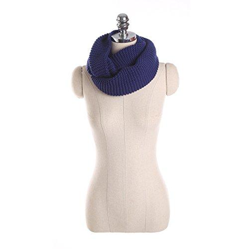 Womens Thick Ribbed Knit Winter Infinity Circle Loop Scarf Ku00F6nigsblau (Knit Circle Scarf)