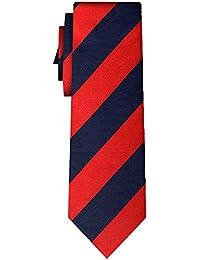 striped silk tie stripe L red navy