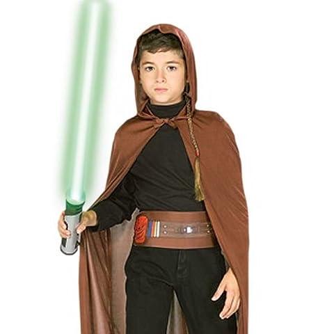 Star Wars Jedi Ritter Kostüm Set für Kinder mit Lichtschwert, Umhang, Haarzopf, Gürtel, (Wookie Jedi Kostüm)