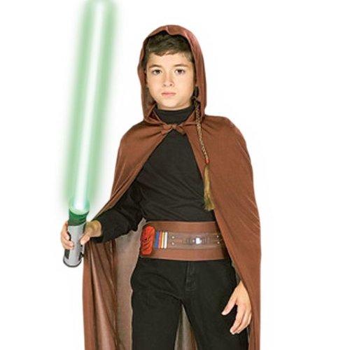 Star Wars Jedi Ritter Kostüm Set für Kinder mit Lichtschwert, Umhang, Haarzopf, Gürtel, Einheitsgröße (Jedi Ritter Kind Kostüme)