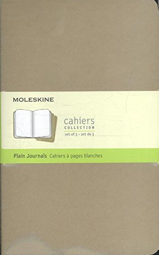 Moleskine Set 3 Quaderni Plain Cahier, a Pagine Bianche, Large, Copertina Kraft