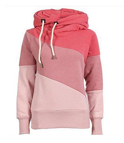 Donna felpe tumblr con cappuccio invernali elegante camicia maglia di colore di contrasto pullover stampato ispessito hoodie sweatshirt elastico casuale sport taglie forti slim kapuzenpullover sweater