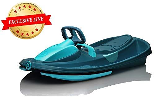 Sport One Slittino Snowracer Biposto Stratos Titanium Blu con Volante - Exclusive Line