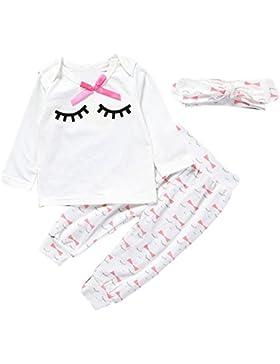 [Patrocinado]Covermason Bebé Niñas Linda Manga Larga Pestaña Camiseta y Pantalones y Diademas (3PCS/1 conjunto)