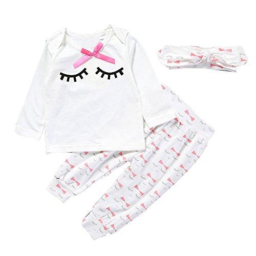 Covermason Bebé Niñas Linda Manga Larga Pestaña Camiseta y Pantalones y Diademas (3PCS/1 conjunto) (0-3M, Blanco)