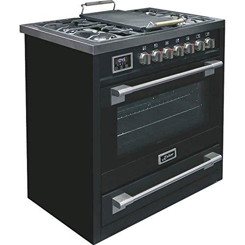 Kaiser HGE 93505 S Gaz Electrique Cuisinière 90cm/Four électrique/Cuisinière/ 115L / Plaque de cuisson au gaz/ 4,5 Kw WOK/ 8 fonctions/Autonettoyage/Gaz naturel et propane possibles/Qualité de lux