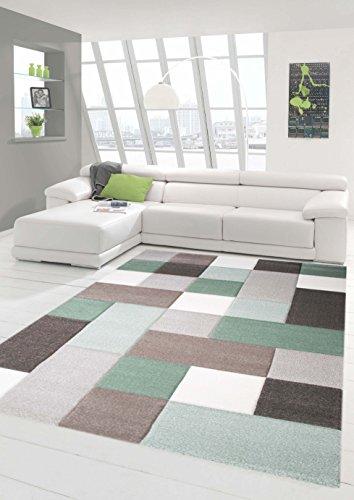 Traum Teppich Designerteppich Moderner Teppich Wohnzimmerteppich Kurzflor mit Konturschnitt (Karo Muster) Öko-Tex in Grau Grün Weiß, Größe 120x170 cm