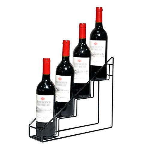 BORNET Schmiedeeisen \Staircase\ Weinregal/Home Wohnzimmer Esszimmer Weinbar Ausstellungsstand Geschenk Ecke Metall Kleines Gitterregal Schwarz/Kann 4 Flaschen Wein Aufnehmen -