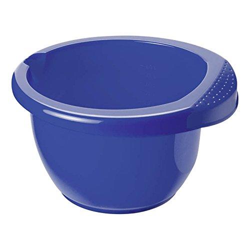 Rotho Rührschüssel Onda aus Kunststoff (PP), mit ergonomischem Griff, Antirutsch-Gummiring, Ausgussmulde, Inhalt ca. 2.5 l, ca. 26 x 25.5 x 14 cm (LxBxH), blau