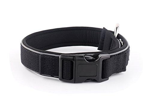 KURI PAI Feelgood Halsband, Größe M (43-50cm) schwarz. Gepolstertes Hundehalsband. Reflektierend. Gepolstert mit Neopren. Obermaterial aus Bambusfaser - 2