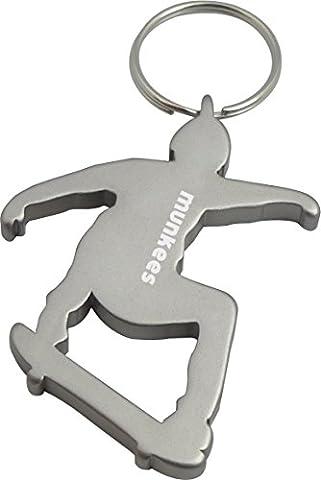 munkees Schlüsselanhänger Skateboarder mit Flaschenöffner, Silber, 34941
