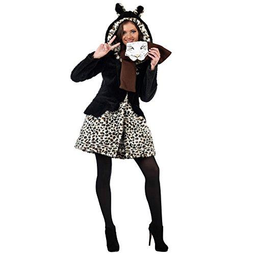 Limit Sport Leoparden Wildkatze Kostüm Damen 2-teilig Mantel und Schal für Karneval und Mottoparty - M (Wildkatze Leopard Kostüm)