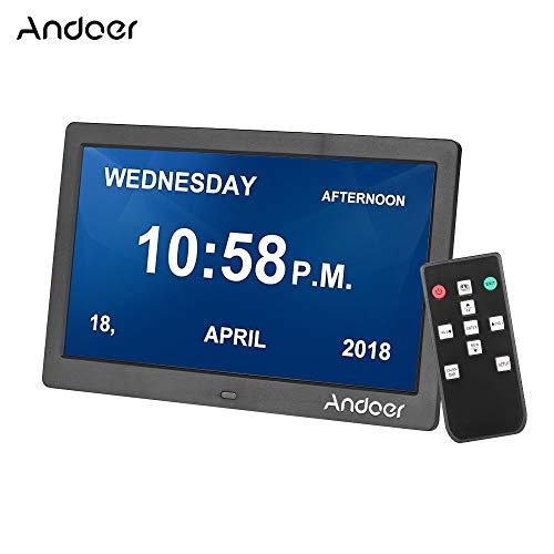 Andoer 10 Zoll IPS Digitaler Bilderrahmen 1024 * 600 Auflösung 2,4 G Ultraempfindlicher Fernbedienung Foto/Musik/Video Player/E-Book/Kalender/Alarm/Digitaluhr(Schwarz)