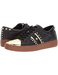Zapatos Mujeres Sneakers MICHAEL KORS Frankie Stripe Leather Black Pale Gold New