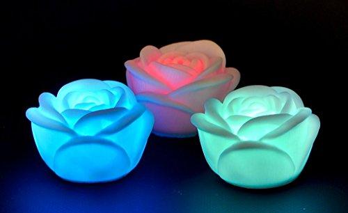2 x LED Kerze, Teelicht Rose mit Farbwechsel