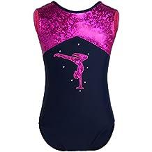 iEFiEL Kids Girls Dancers One Piece Sleeveless Glittery Splice Gymnastics Leotard Ballet Dance Sparkly Jumpsuit
