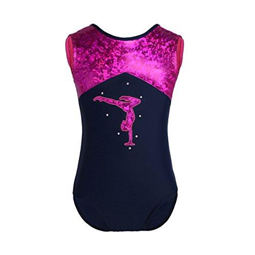 Freebily Leotards Trikots für Gymnastics Kindergymnastik üben Kleidung Tanzkleidung Turnanzug für Mädchen Sparkle Einteiliges Ballett Tanz Bodysuit in Gr.98-164 Marineblau&Rose 140-152/10-12 Jahre