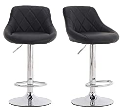 Millhouse Modern Bar Stools Set, Leatherette Exterior, Adjustable Swivel Gas Lift, Chrome Footrest and Base for Breakfast Bar, Counter, Kitchen and Home Barstools (DM931-BLACK)