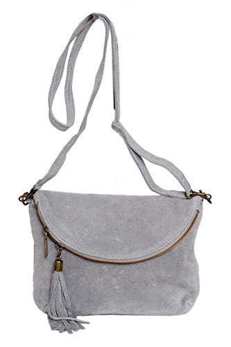 fashion-formel Leder- Messenger- / Umhängetasche Tasche aus echt.Velour-/ Wildleder, Minibag Italy (hellgrau) -