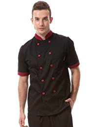 Homes Hold 813645 Tunique à manches courtes de chef cuisinier Noir/rouge