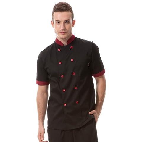 Chefs Apparel unisex short sleeve black w/ red chef jacket basical chef uniform 813645 (6 sizes