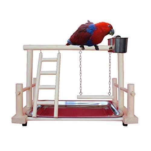 Junkai Piccolo Uccello Parrot Stand Persico,Parco Giochi in Legno Uccello Pappagallo Parrot Play Telaio Parco Giochi Posatoio Giocattolo Palestra
