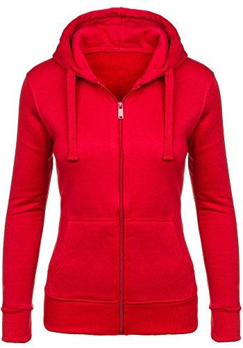 BOLF Mujer Sudadera Con Gran Capucha y Con Cremallera Material Sólido Manga Larga STEGOL AK50 Rojo S [1A1]