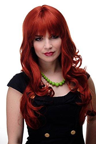 WIG ME UP - Damen Perücke große kräftige Locken, welligem Haar mit glattem Pony Rot Dunkel-Kupferrot ca. 65 cm 285-135