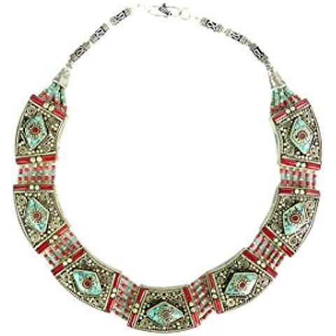 TURQUOISE & CORALLO TIBETANA COLLANA PER LE DONNE 925 collana moda da argento TIBETANO - Sterling Silver Turquoise Coral