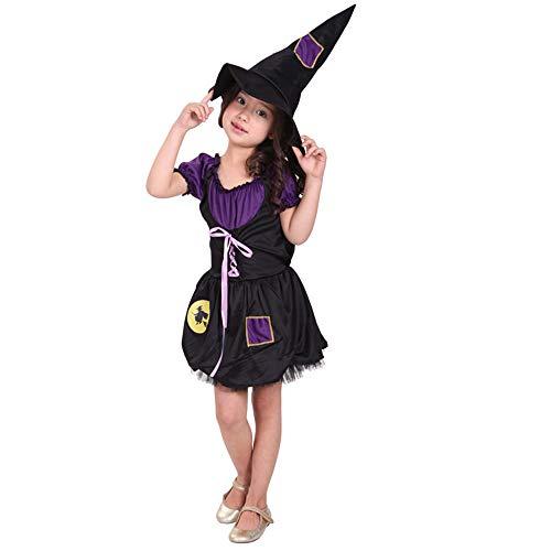 QINGQING Kinder Baby Mädchen Hexe Dress up Halloween Kinder Durchführung Kleidung Kostüm Kleid Party Kleider + Hexe Hut (5-12) Kinder Mädchen Halloween Kleidung Kostüm (Size : M(5-7years))