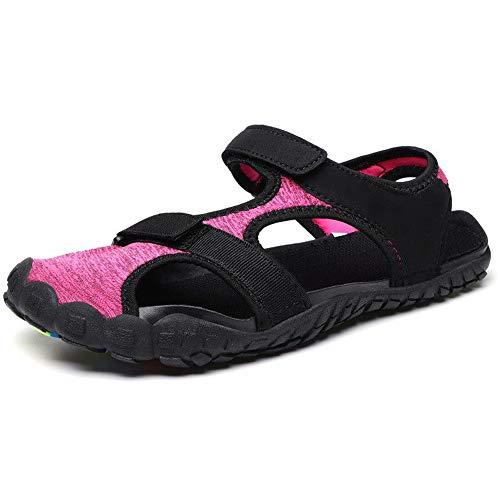Walking Sandalen (Midumen Herren Trekking Sandalen Sommer Damen rutschfest Wandern Sandalen Outdoor Strand Wanderschuhe Schuhe Rosa 38 EU)