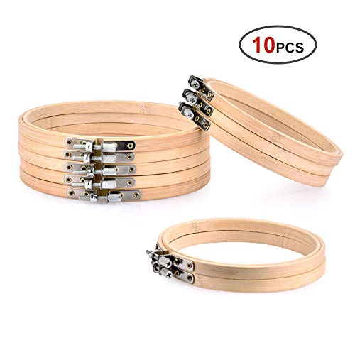Hisome Stickrahmen Set, 10 Stück Runde Stickrahmen Holz Kreuzstich Set, 5 Stück 4 Zoll und 5 Stück 6 Zoll Verstellbarer Bambus Kreis Kreuzstich Hoop Ring mit 10 Stück Nähnadeln