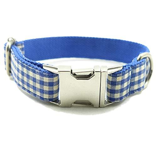 QitunC Plaiddruck Hunde Halsbänder Einstellbare Metall Schnalle Geflochten Haustier Hundehalsband Aspicture XL -