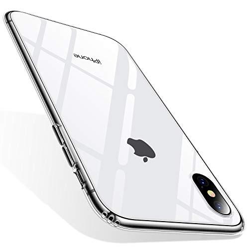 TORRAS HD Klar Dünn iPhone X Hülle/iPhone XS Hülle mit [Panzerglas] Slim Anti-Gelb Handyhülle Hard PC Back & Soft TPU Bumper Cover Case für iPhone XS/iPhone X(Transparent)