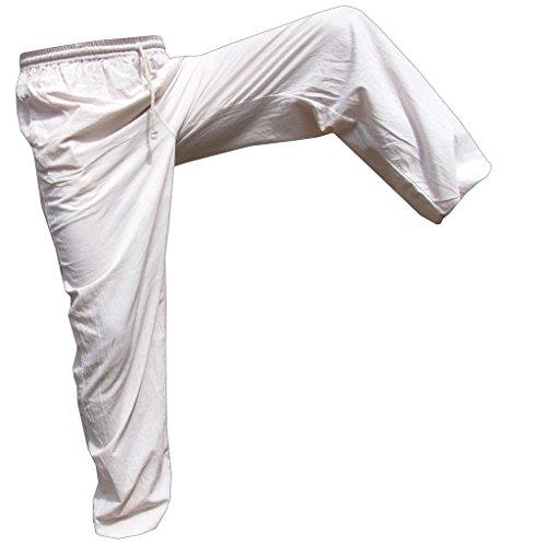 E' Pants Cotton lang, weiss, Unisize L (Weiße Thai-yoga-hosen)