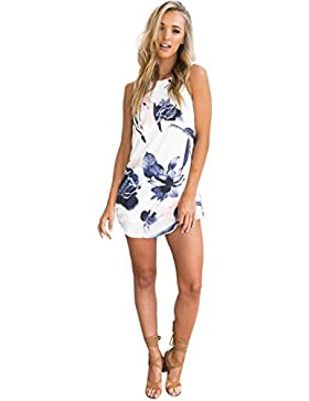 FNKDOR Mujer Cadenas Vestido corto con estampado floral de Bodycon
